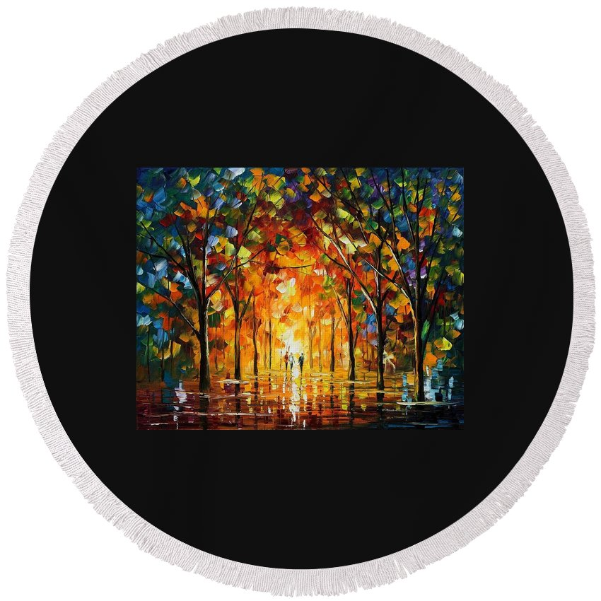 Afremov Round Beach Towel featuring the painting The Return Of The Sun by Leonid Afremov