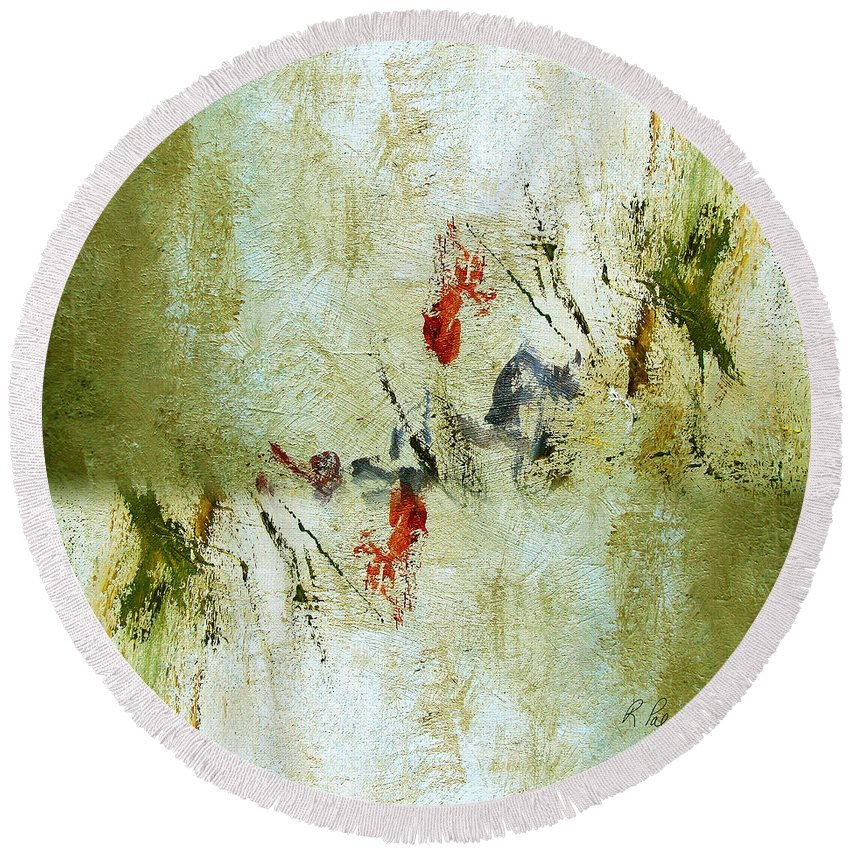 Abstract Round Beach Towel featuring the painting The Reversal by Ruth Palmer
