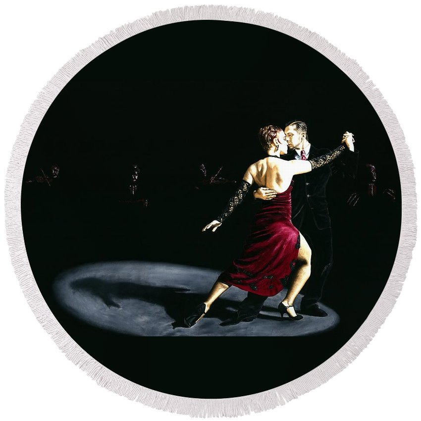 Tango Round Beach Towel featuring the painting The Rhythm of Tango by Richard Young