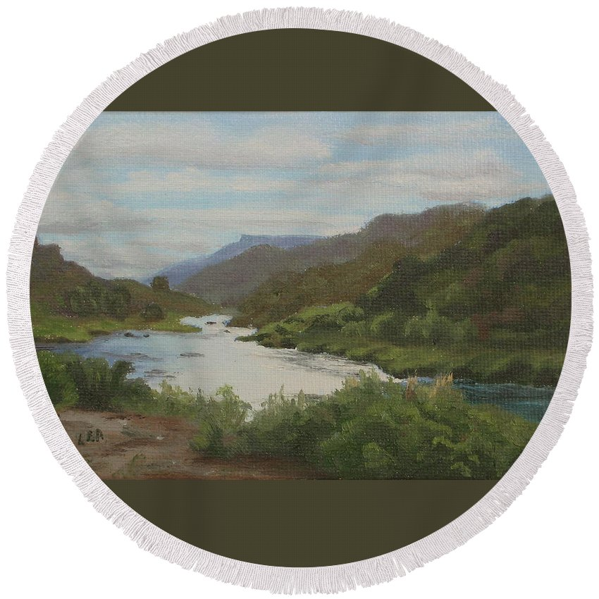 Landscape Round Beach Towel featuring the painting The Rio Grande Between Taos And Santa Fe by Lea Novak