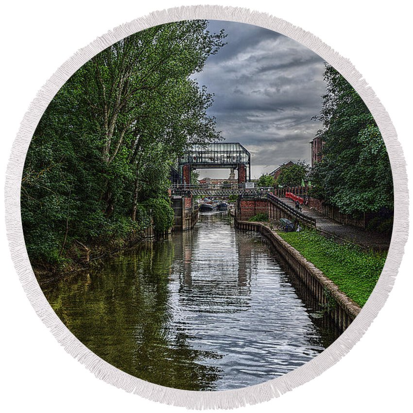 The Round Beach Towel featuring the photograph The River Foss Meets The River Ouse by Mark Hunter