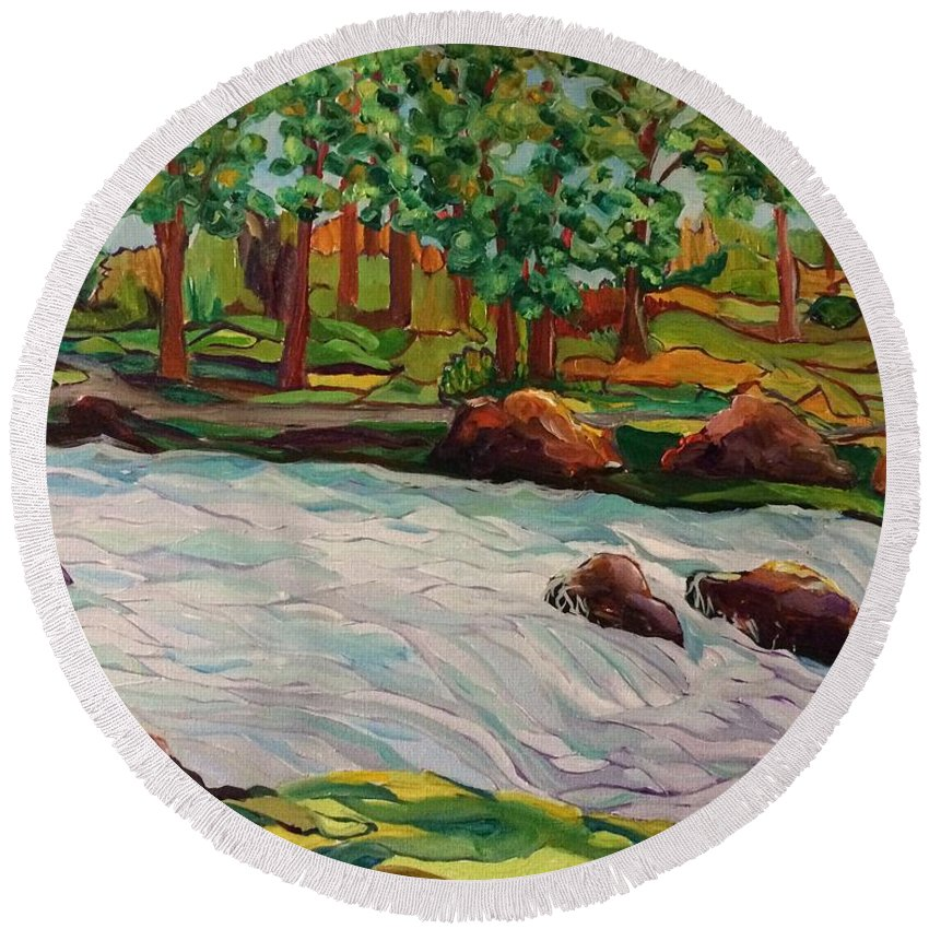 River Round Beach Towel featuring the painting The River by Karen Harding