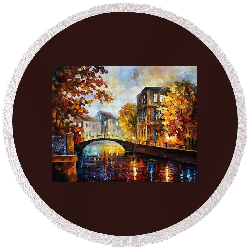 Afremov Round Beach Towel featuring the painting The River Of Memories by Leonid Afremov