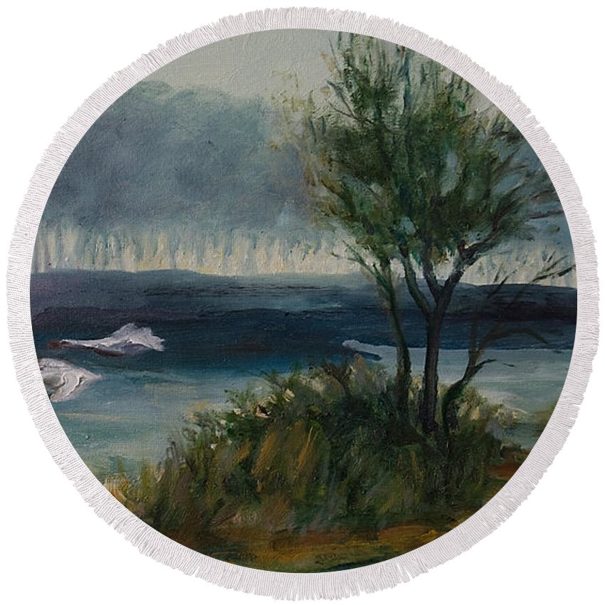 Water Round Beach Towel featuring the painting The River by Rick Nederlof