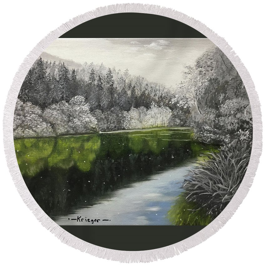 Grayscale Round Beach Towel featuring the painting Grayscale The River by Stephen Krieger