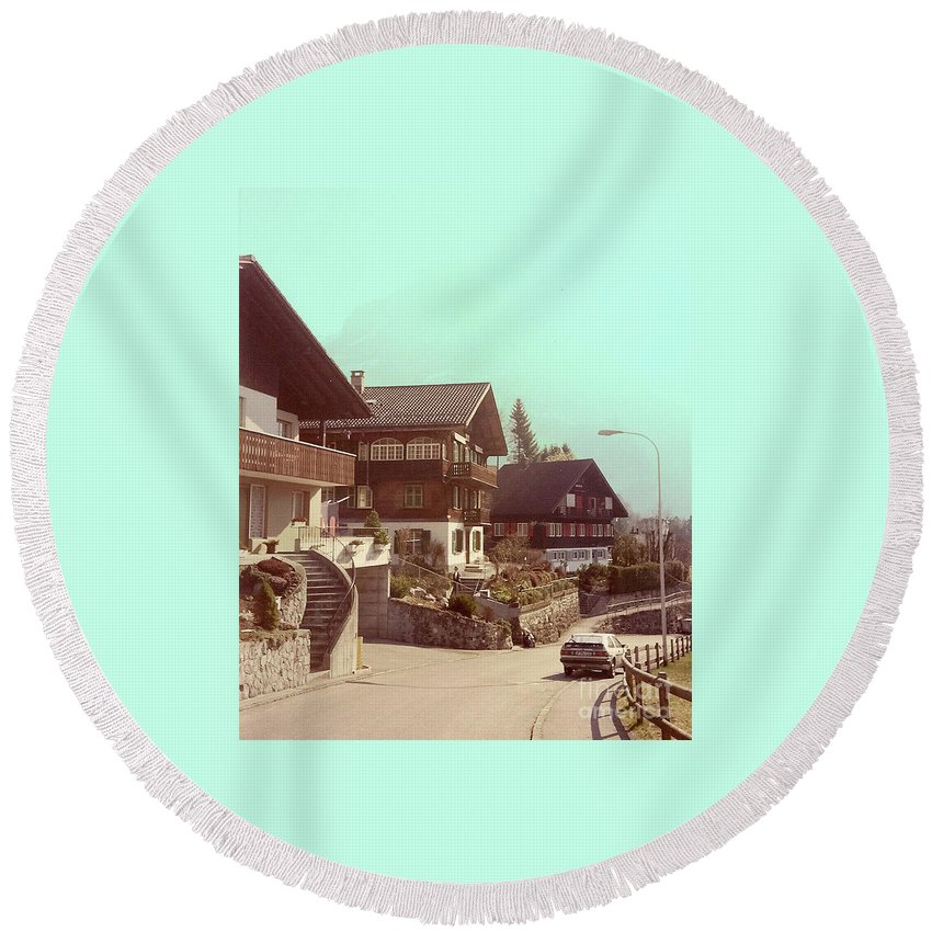 Switzerland Round Beach Towel featuring the photograph The Road by Jost Houk