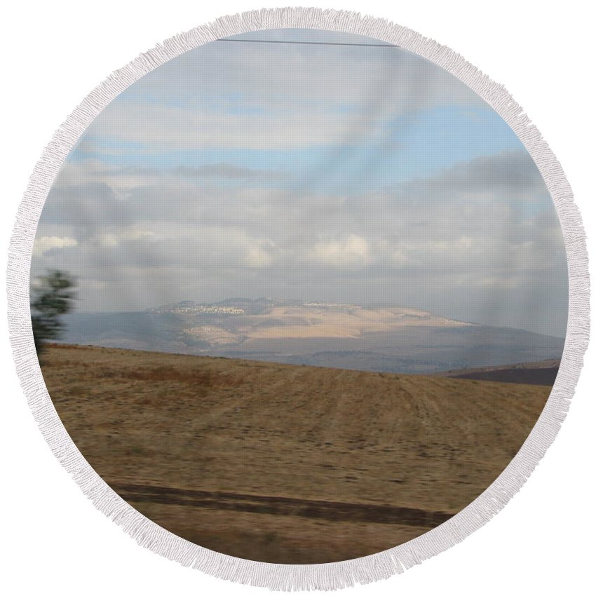Israel Round Beach Towel featuring the photograph The Road To Galilee by Sandra Bourret
