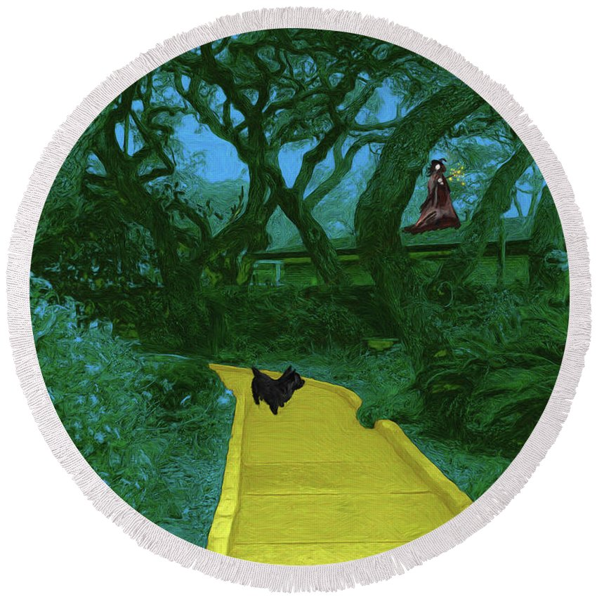 The Road To Oz Round Beach Towel featuring the painting The Road To Oz by Methune Hively