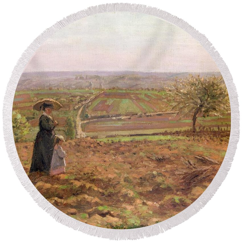 The Round Beach Towel featuring the painting The Road To Rouen by Camille Pissarro