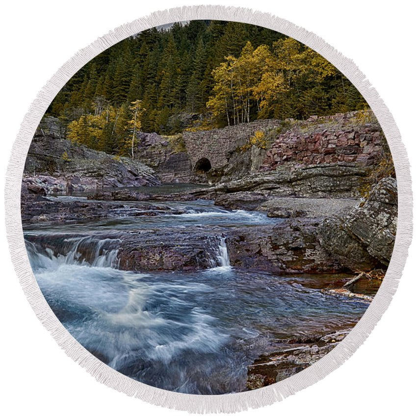 Wyoming Round Beach Towel featuring the photograph The Rock Wall by Michael J Samuels