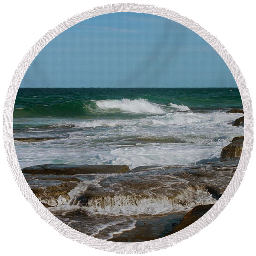 Rocks Round Beach Towel featuring the photograph The Rocky Shore by Susan Vineyard