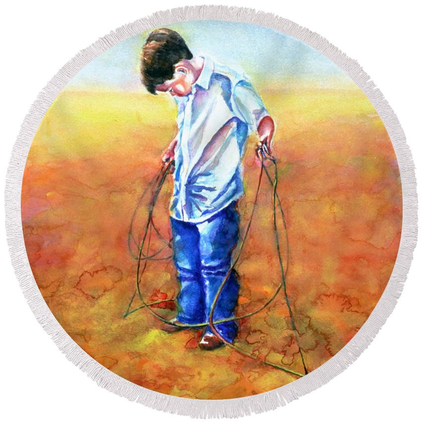 Child Round Beach Towel featuring the painting The Roping Lesson by Shannon Grissom