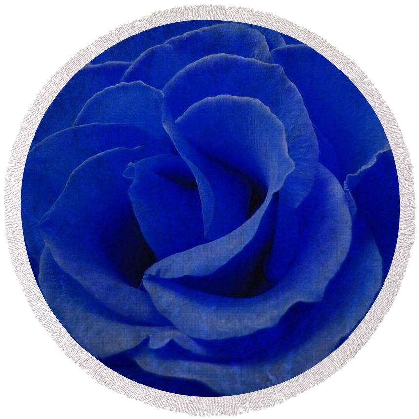 Blue Round Beach Towel featuring the photograph The Rose Of Sadness by Jeffrey Kolker