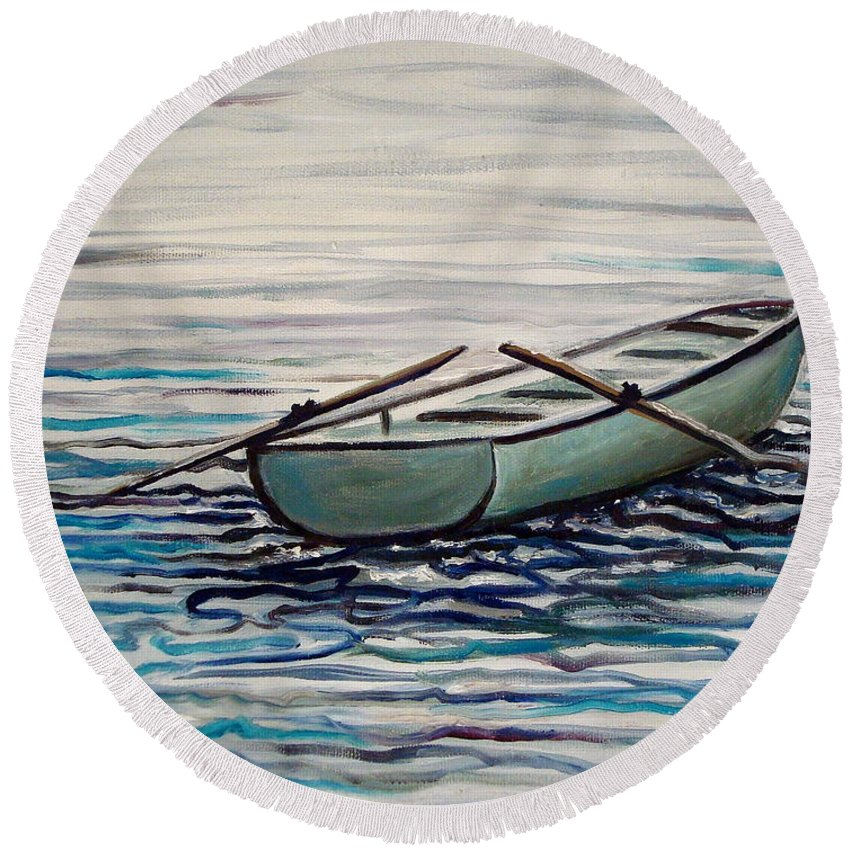 Water Round Beach Towel featuring the painting The Row Boat by Elizabeth Robinette Tyndall