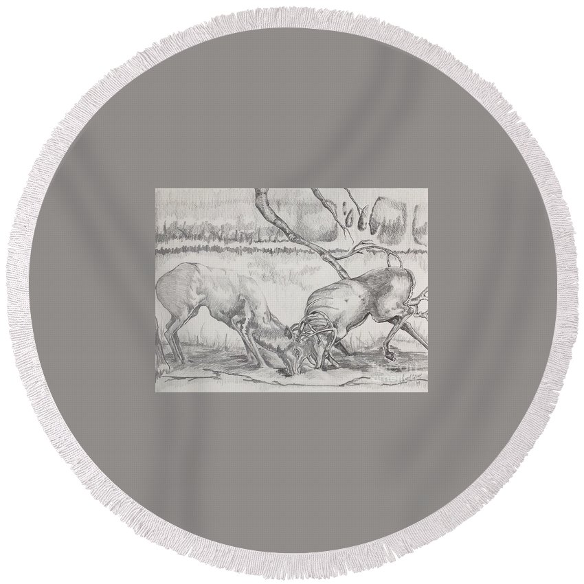 Chiaroscuro Round Beach Towel featuring the drawing The Rut by Laurel Adams
