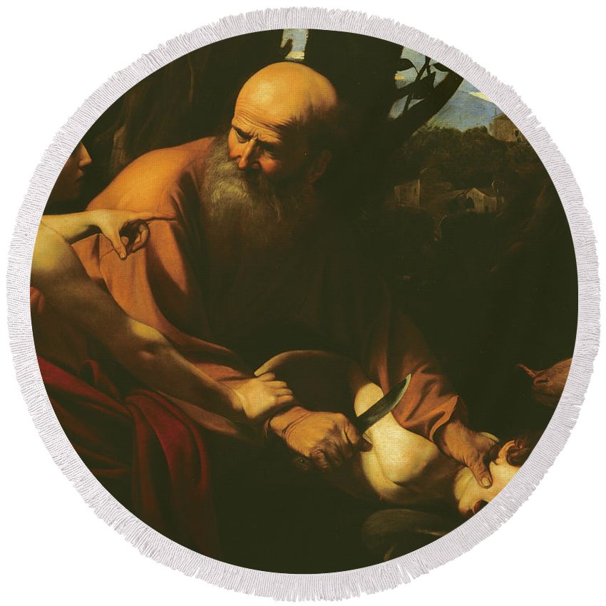 Caravaggio Round Beach Towel featuring the painting The Sacrifice Of Isaac by Caravaggio