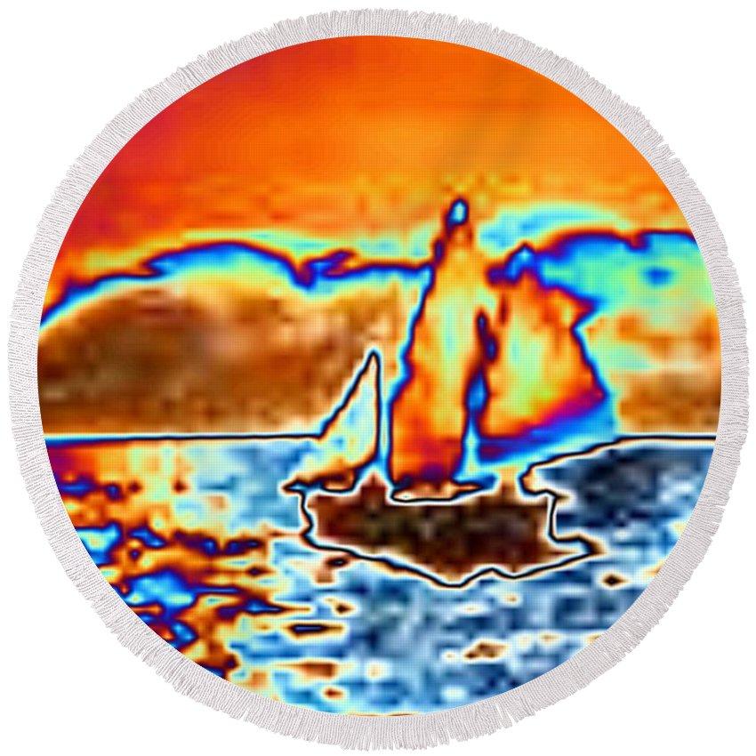Sail Round Beach Towel featuring the digital art The Sail by Tim Allen