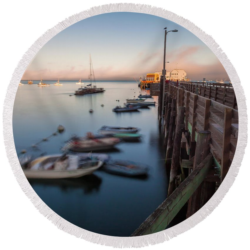 San Luis Opisbo Round Beach Towel featuring the photograph The San Luis Pier by Jonathan Nguyen