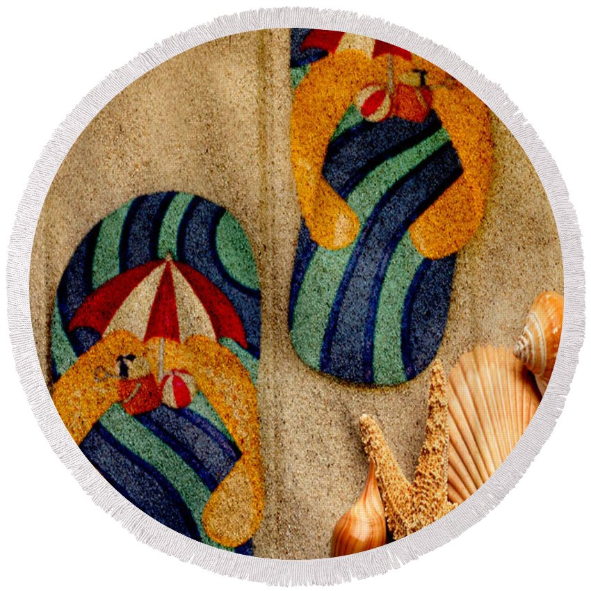 Flip Flops Round Beach Towel featuring the photograph The Sands Of Summer - Flip Flops by Marie Jamieson
