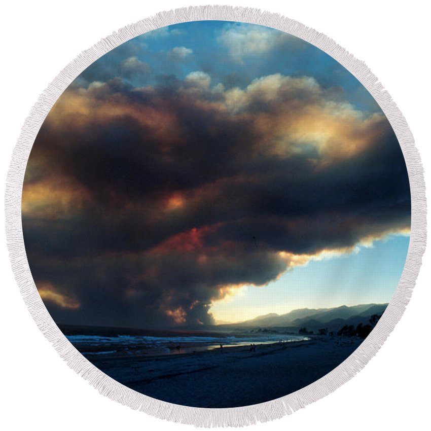 Santa Barbara Round Beach Towel featuring the photograph The Santa Barbara Fire by Jerry McElroy