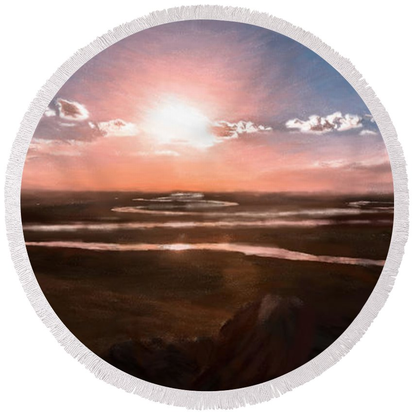 River Round Beach Towel featuring the painting The Scenery - Id 16235-142805-2743 by S Lurk
