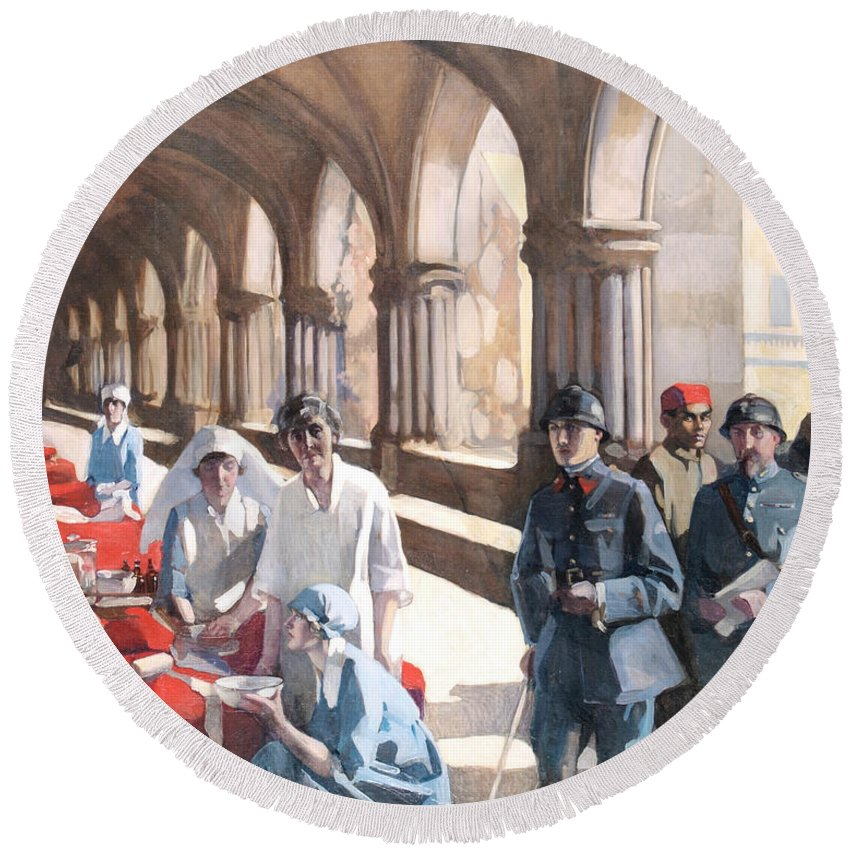 Scottish Art Round Beach Towel featuring the painting The Scottish Women's Hospital - In The Cloister Of The Abbaye At Royaumont. by Norah Neilson Gray