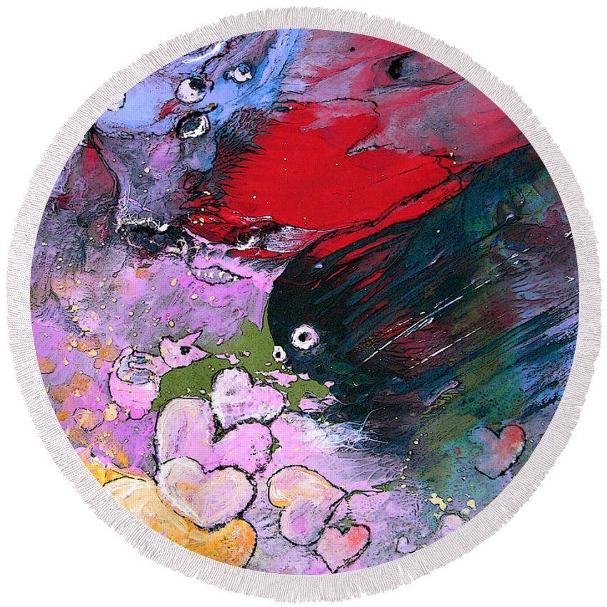 Art Miki Round Beach Towel featuring the painting The Sea Of Lost Hearts by Miki De Goodaboom