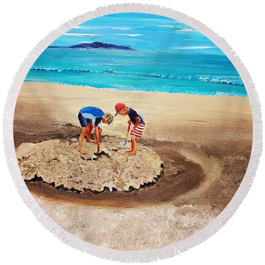 Children Round Beach Towel featuring the painting The Sea Surges Up With Laughter by Eli Gross