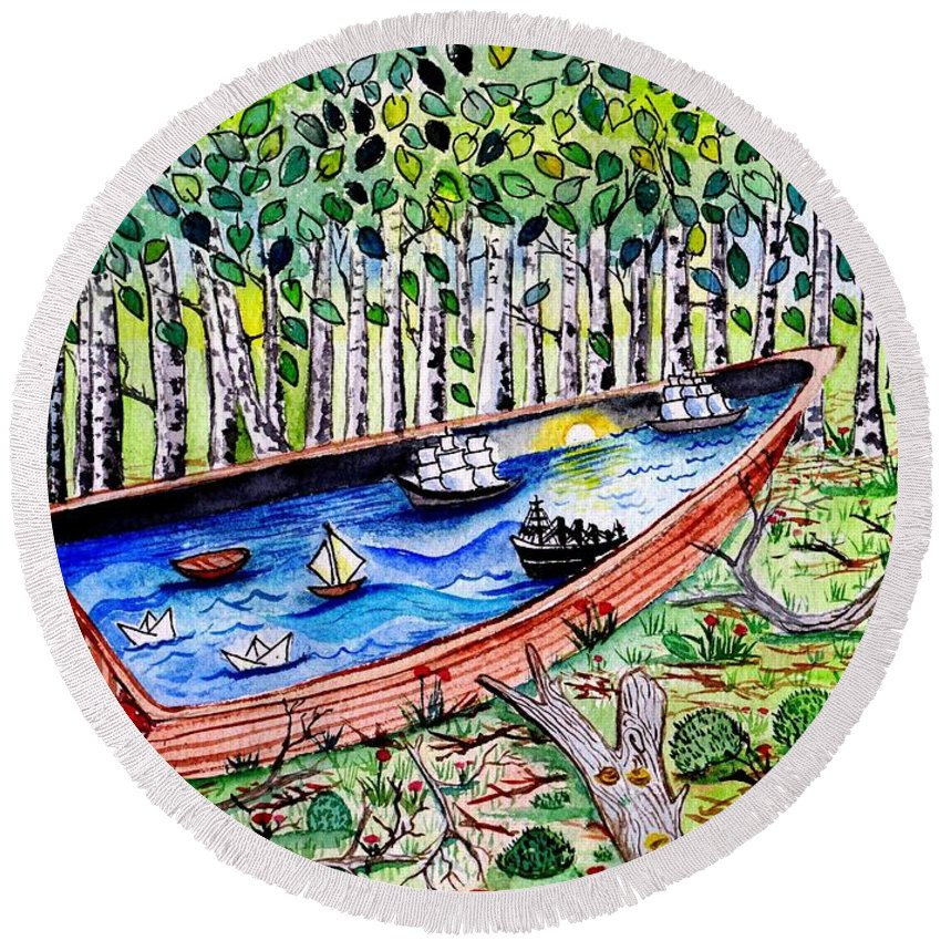 Forest Round Beach Towel featuring the painting The Sea by Sweeping Girl