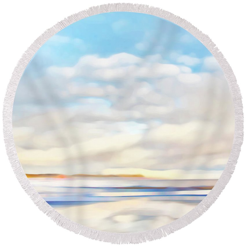 Sea Round Beach Towel featuring the photograph The Seaside by Theresa Tahara