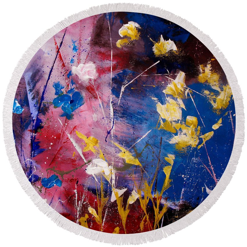 Acrylic Round Beach Towel featuring the painting The Season Of Singing Has Come by Ruth Palmer