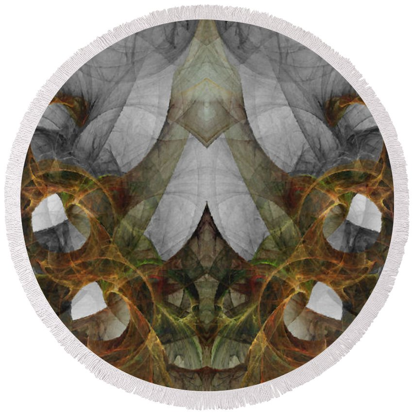 Abstract Round Beach Towel featuring the digital art The Second Labor Of Herakles by NirvanaBlues