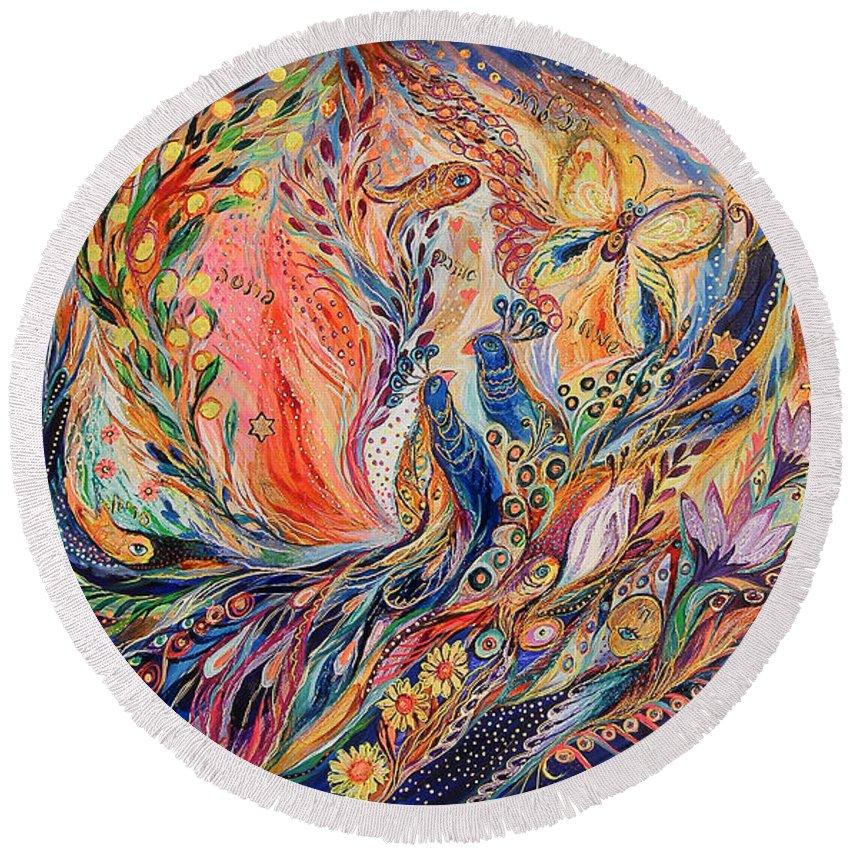 Original Round Beach Towel featuring the painting The Secret Of Blue Birds by Elena Kotliarker