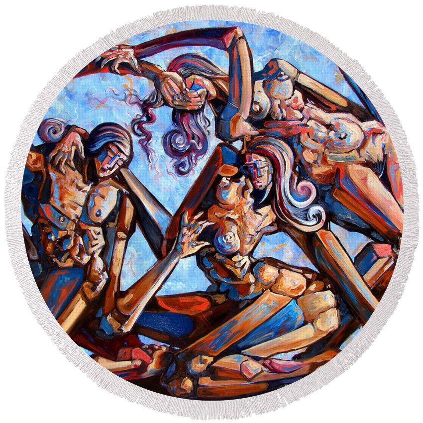 Surrealism Round Beach Towel featuring the painting The Seduction Of The Muses by Darwin Leon