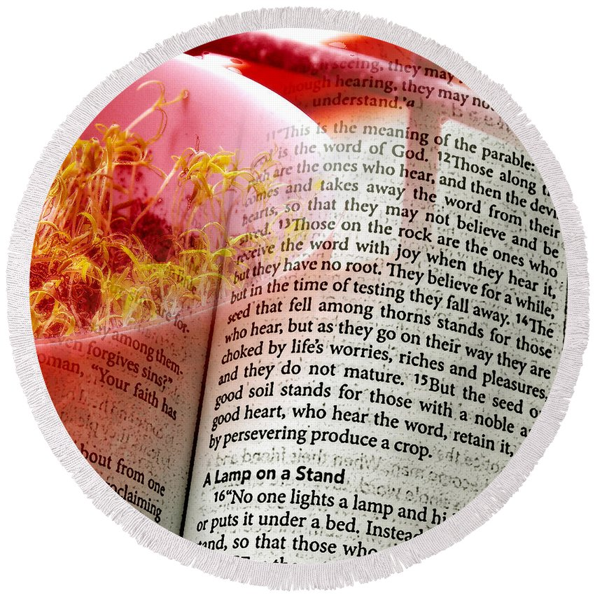ruth Palmer Round Beach Towel featuring the digital art The Seed Is The Word Of God by Ruth Palmer