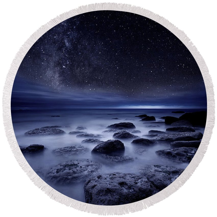 Night Round Beach Towel featuring the photograph The Sense Of Existence by Jorge Maia