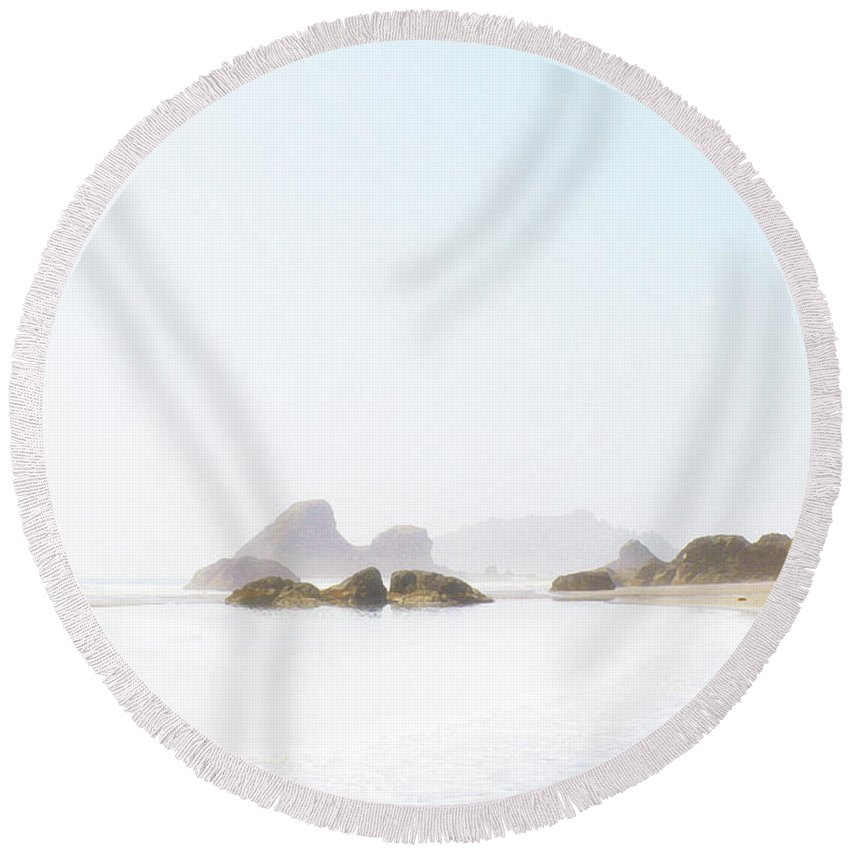 The Serenity Of Moon Stone Beach Round Beach Towel featuring the digital art The Serenity Of Moon Stone Beach by Susan Vineyard