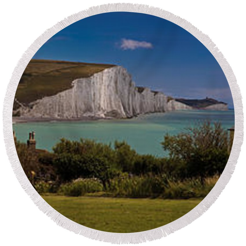 Panorama Round Beach Towel featuring the photograph The Seven Sisters And The Coastguard Cottages by Chris Lord