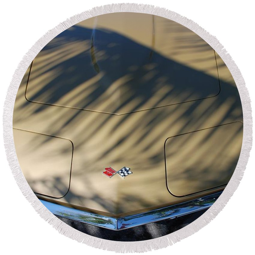 Corvette Round Beach Towel featuring the photograph The Shadow Vette by Rob Hans