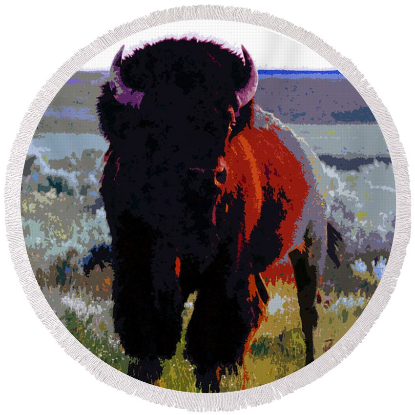 Shaman Round Beach Towel featuring the painting The Shamans Buffalo by David Lee Thompson