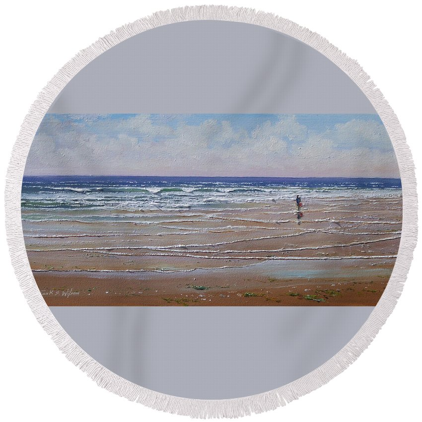 Seascape Round Beach Towel featuring the painting The Shell Collector by Frank Wilson