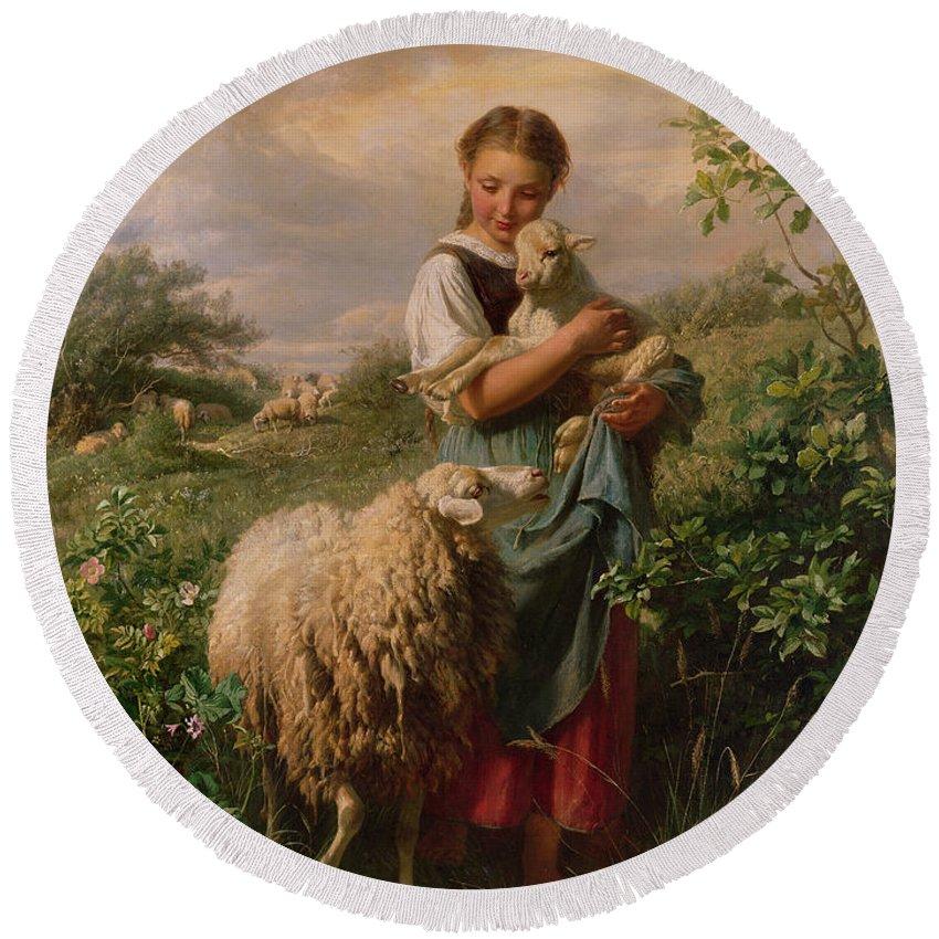 Shepherdess Round Beach Towel featuring the painting The Shepherdess by Johann Baptist Hofner