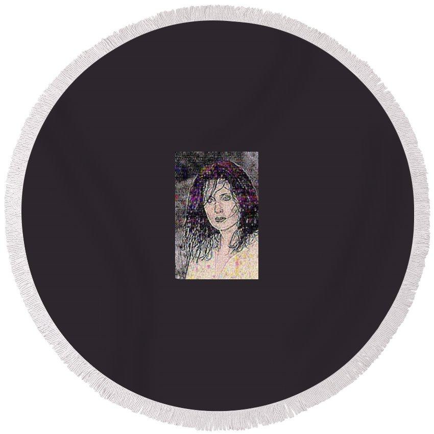 Female Portrait Round Beach Towel featuring the digital art The Shift by Erin Franklyn