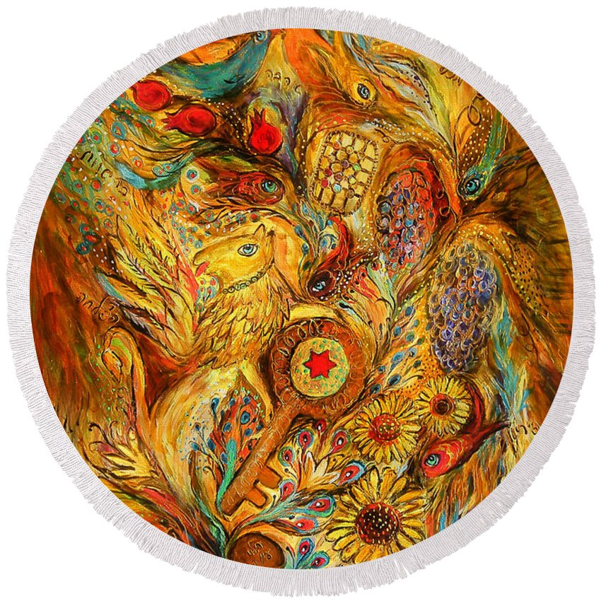Original Round Beach Towel featuring the painting The Shining Of Gold by Elena Kotliarker