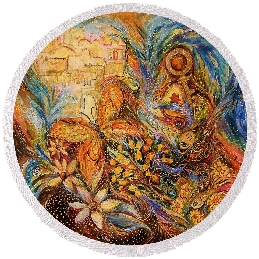 Original Round Beach Towel featuring the painting The Shining Of Jerusalem by Elena Kotliarker