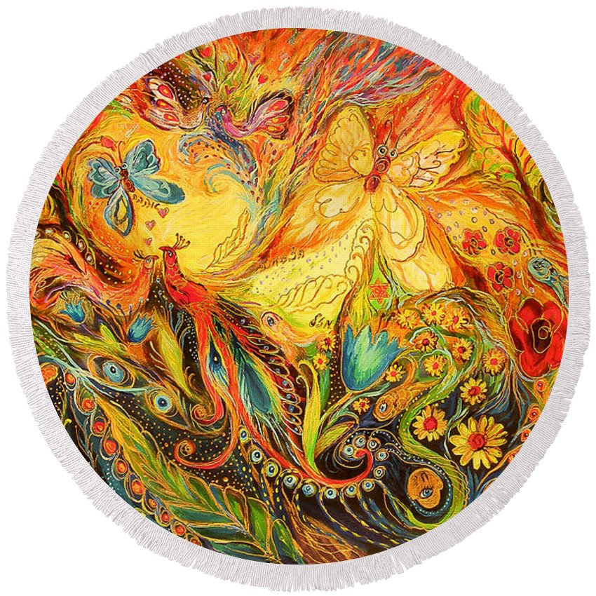 Original Round Beach Towel featuring the painting The Shining Of The Summer by Elena Kotliarker