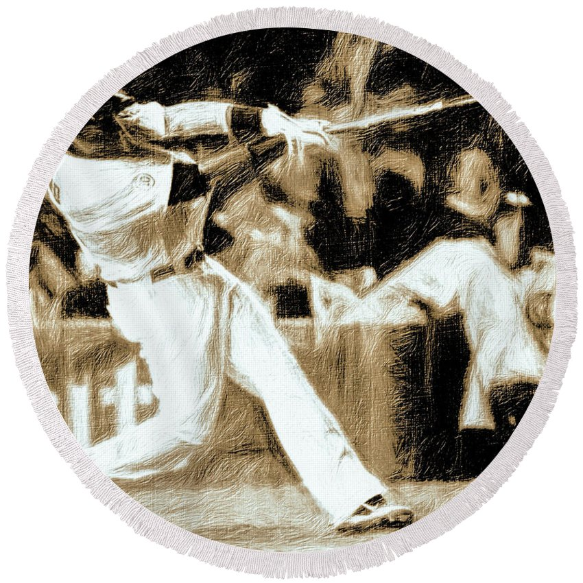Baseball Round Beach Towel featuring the photograph The Show Iv by Terry Fiala