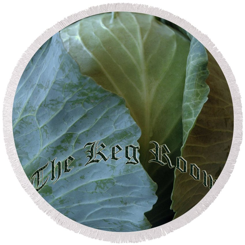 Round Beach Towel featuring the photograph The Shy Cabbage The Keg Room Old English Hunter Green by LeeAnn McLaneGoetz McLaneGoetzStudioLLCcom