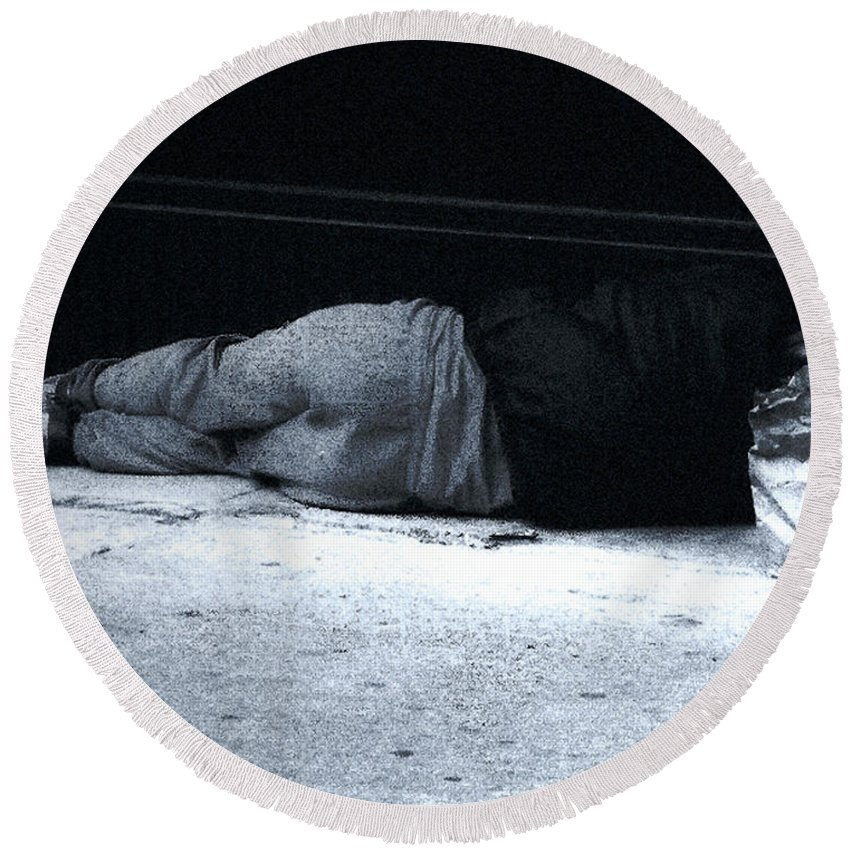 Homeless Round Beach Towel featuring the photograph The Sidewalks Of New York by RC DeWinter