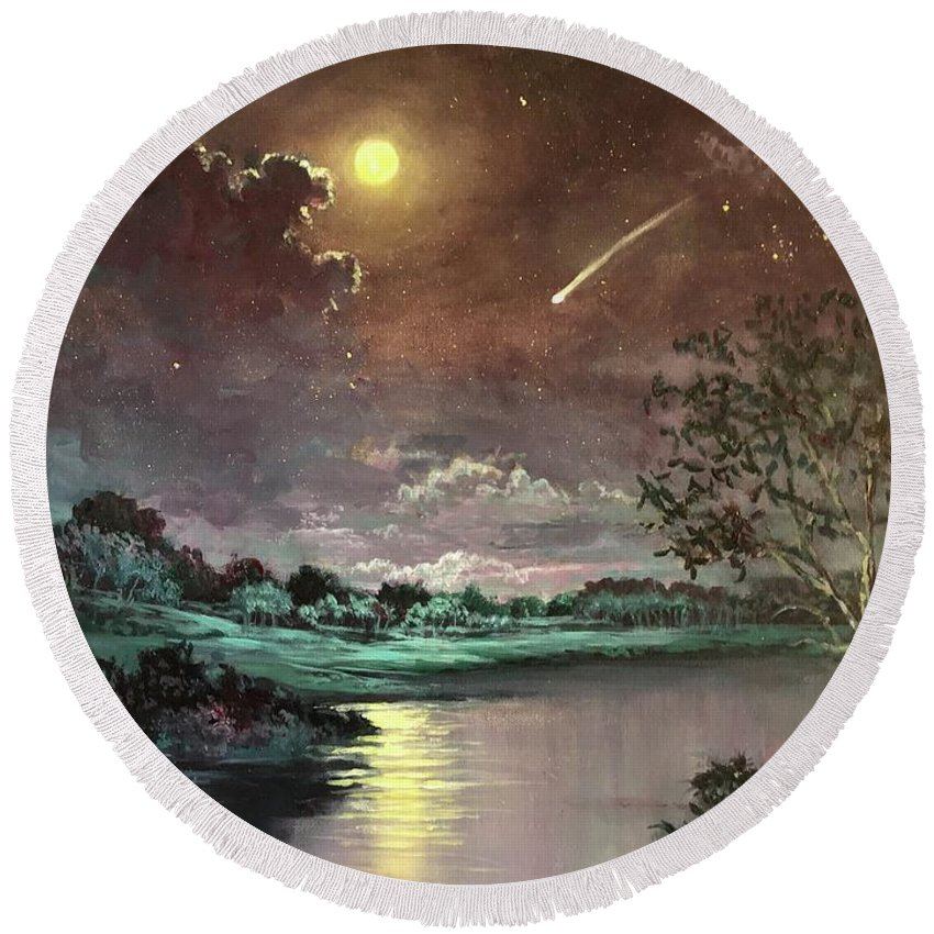 Stars Round Beach Towel featuring the painting The Silence Of A Falling Star by Randy Burns